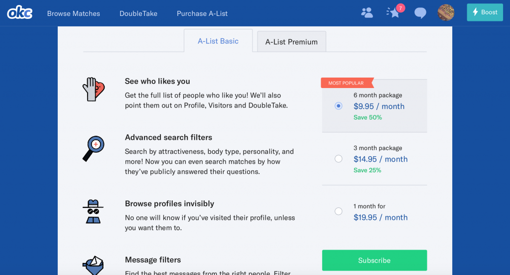 OKCupid 2017 Basic Subscription Prices