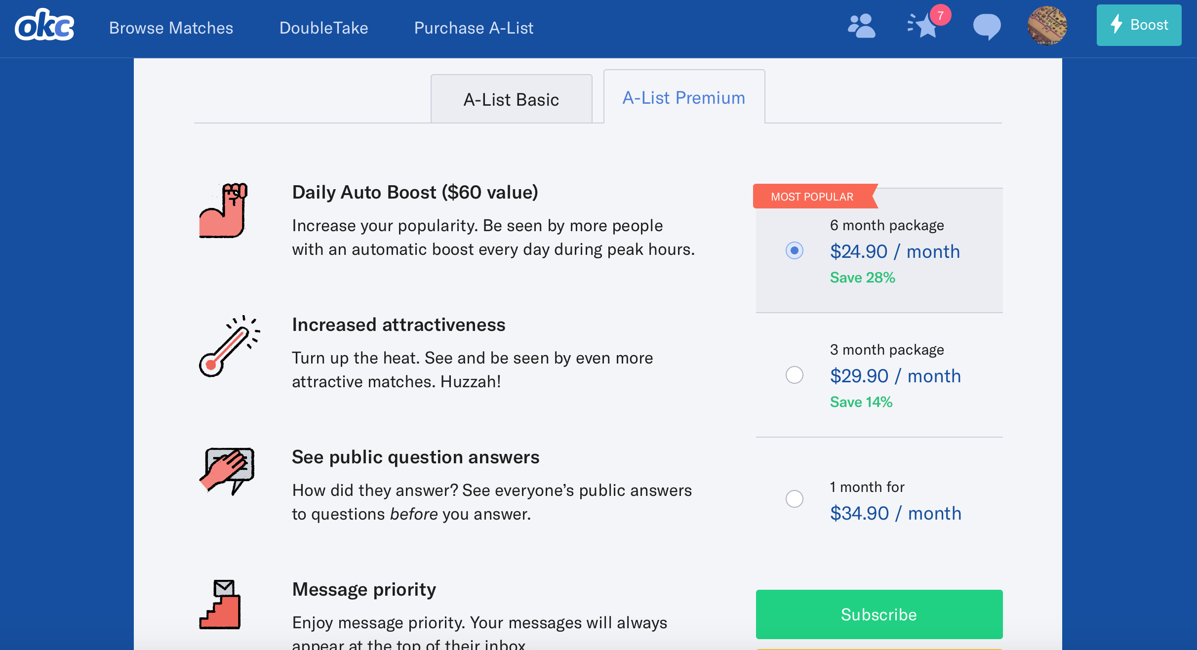 Okcupid a list price