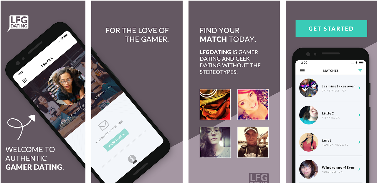 Screenshots of the LFGdating Gamer Dating App on Android - 2019