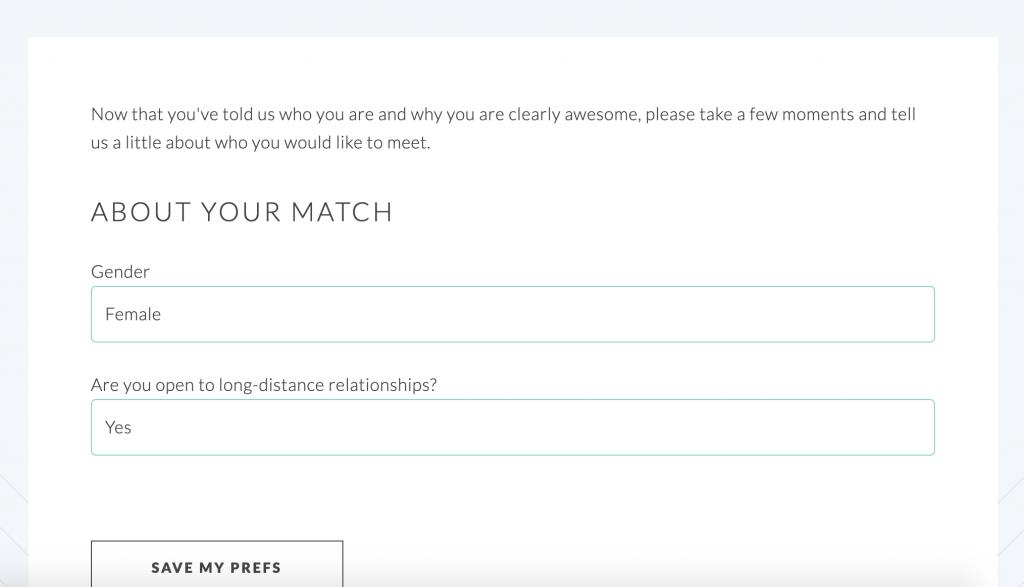 LFGdating Long Distance Match Prefs Question Screenshot - 2019 LFGdating
